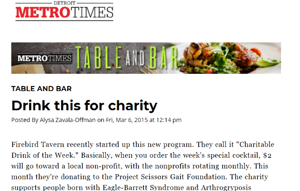 Screenshot of online version of Detroit Metro Times article about the fundraiser held Firebird Tavern